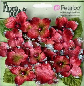 Hydrangeas-BURGUNDY-22-flower-amp-leaf-mix-VELVET-GLITTER-20-30mm-Petaloo-HYD