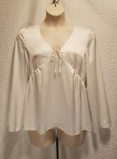 Kensie Womens White Satin V-Neck Bell Sleeves Pullover Top Blouse L BHFO 5522