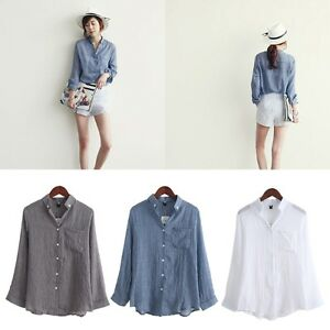 Chemisier-Women-Tops-Fashion-Autumn-Linen-Shirt-Long-Sleeve-Blouse-Korean-Casual
