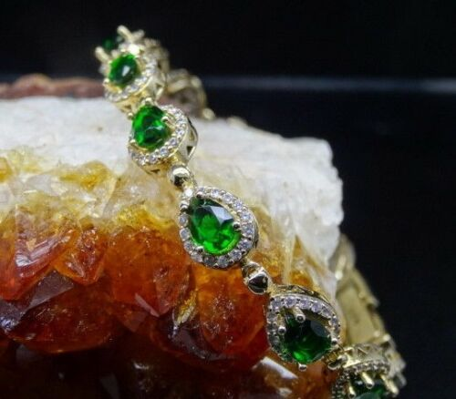 Turc fait main 925 Argent Sterling Authentique Emerald femmes womans Bracelet 80