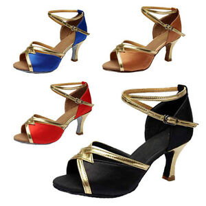 Brand-New-Women-039-s-Ballroom-Latin-Tango-Dance-Shoes-heeled-Salsa-4-Colors-225-S-W