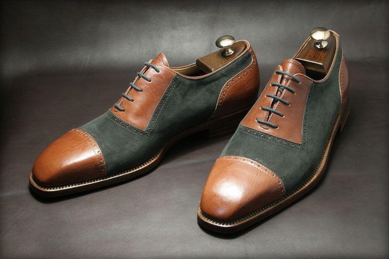 presa di fabbrica Handmade Uomo Oxford Captoe Two Two Two Tone Casual Leather Formal office Wedding scarpe  forma unica