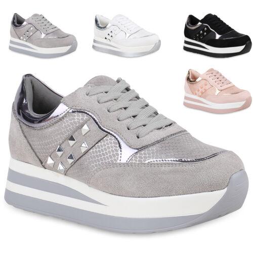 Damen Plateau Sneaker Metallic Freizeit Schuhe Schnürschuhe 820536 Trendy Neu