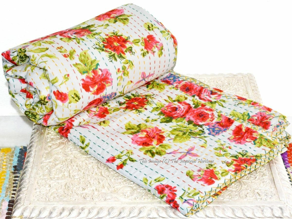 Handmade Flower Kantha Patchwork India Boho Vintage Queen Bed Cover Quilt Throw