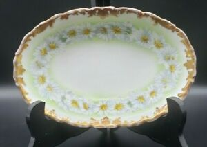 "T.V. Limoges France 7"" Oval Porcelain Hand Painted Daisy Dish"