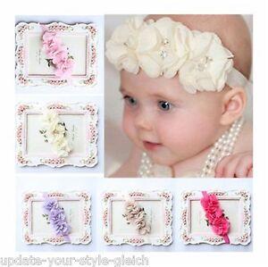 Stirnband Haarband Chiffon Blume Taufe Hochzeit Haarschmuck Baby Mädchen Neu