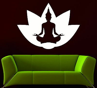 Buddha Lotus Flower Chakras Meditation Yoga Studio Vinyl Wall Sticker Bedroom