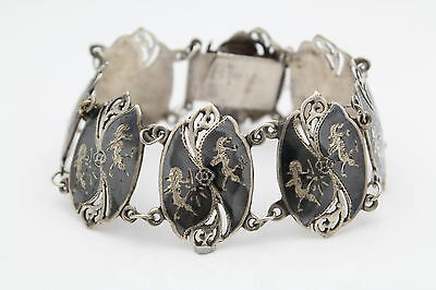 "Vintage Siam 7"" Ornate Shield Panel Bracelet in Niello and Sterling Silver"