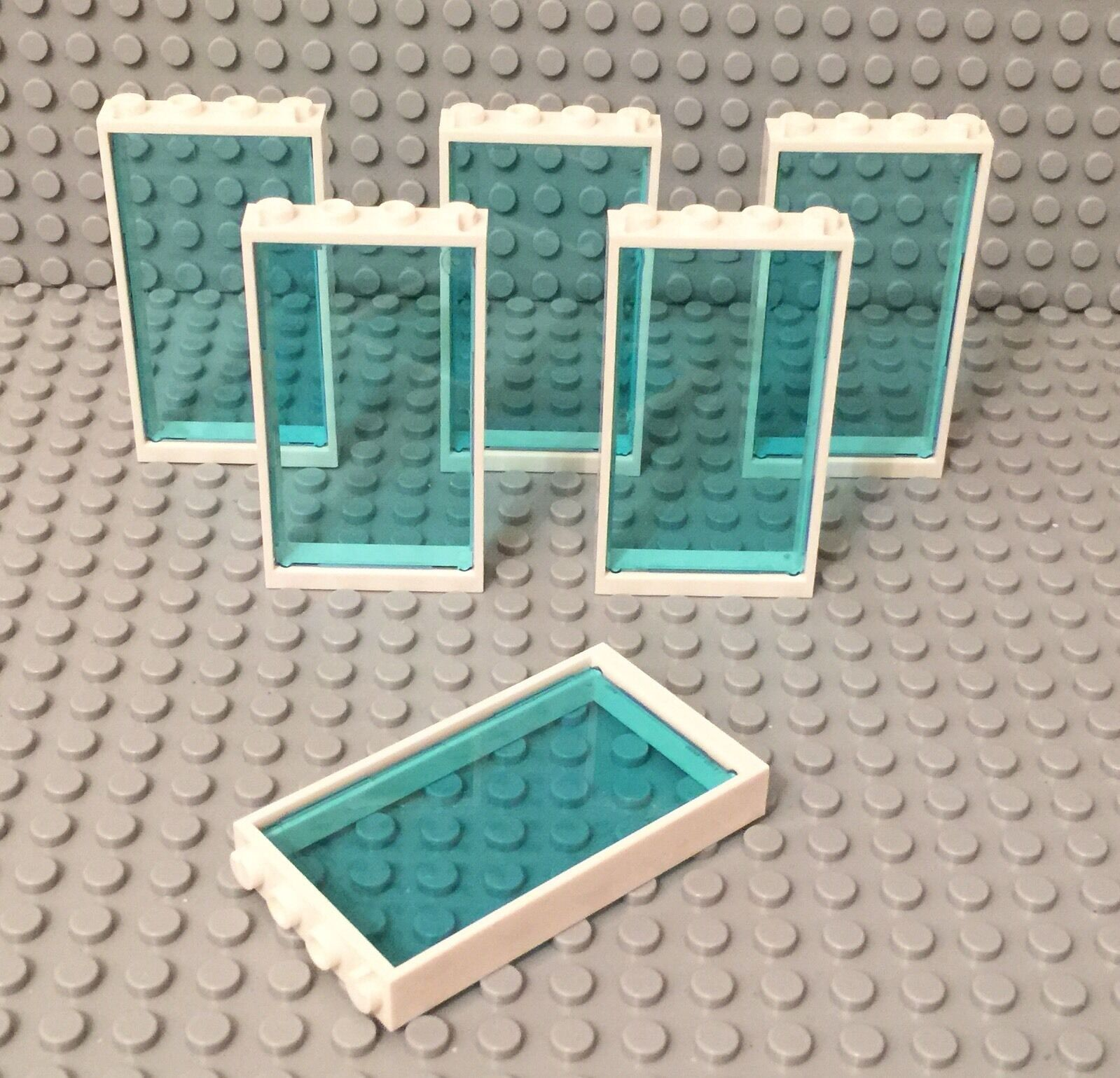 NEW Lego Lot of 4 Light Blue Transparent Doors with White Frames 1x4x6