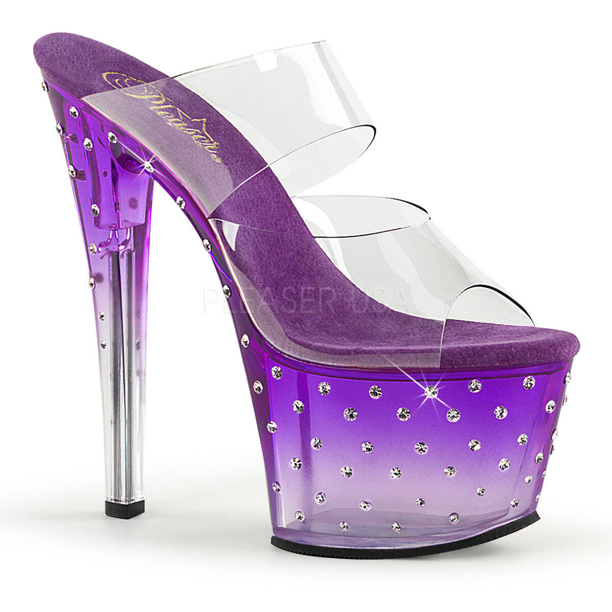 Pleaser STARDUST-702T Clear/Purple Rhinestone Studded Studded Studded Platform Ankle Strap Heels 827fdc