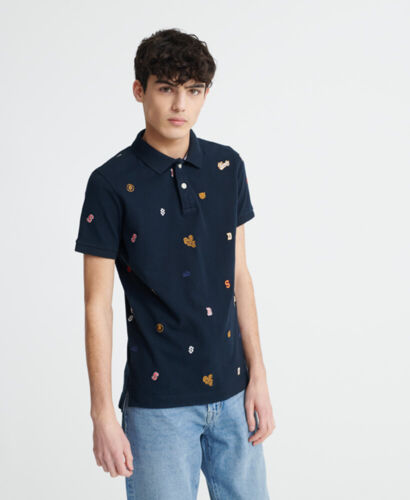 Superdry Mens Classic All Over Embroidery Pique Polo Shirt