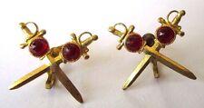 boucles d'oreilles à vis bijou vintage couleur or épée cristal rouge rubis 497
