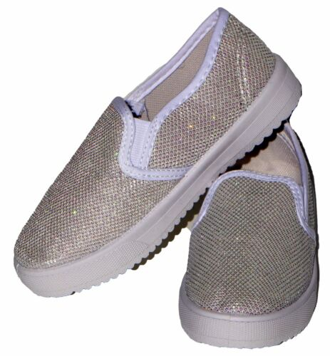 Girl/'s Kid Glitter Sneaker Loafers Laceless Slip on Casual Shoes Flat Sparkle