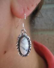 White Buffalo Turquoise Earrings 14mm Stone Sterling Silver Rain Drop Design