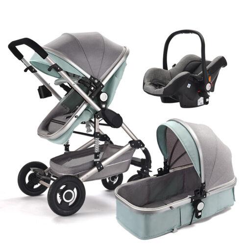 Luxury 3 In1 Foldable Baby Kids Travel Stroller Newborn Infant Pushchair Buggy