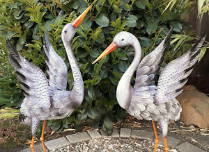 Garten-Figur-2er-Set-Kranich-Metall-Tier-Vogel-Deko-Teich-Hoehe-92cm-80cm