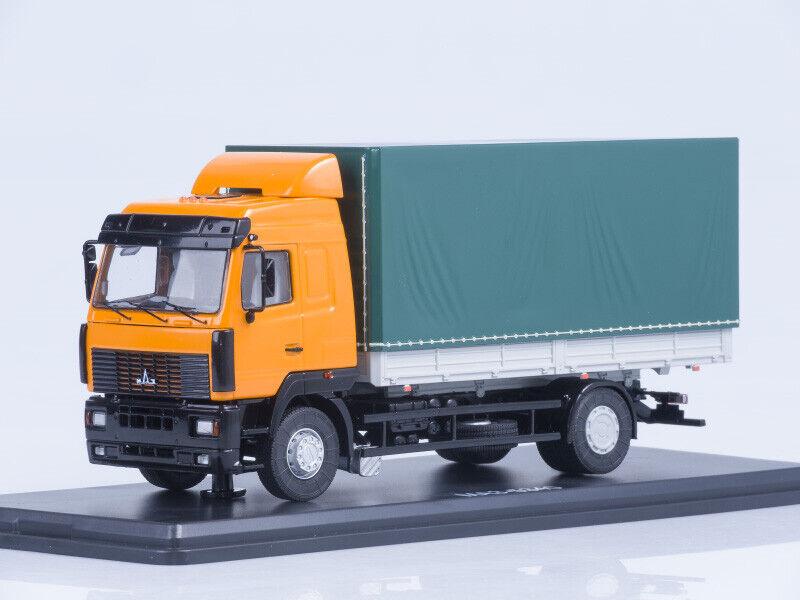MAZ-5340 flatbed truck with tent  Orange-Grün  SSM1215  1 43 New in a box