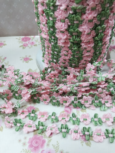 5 yards Satin Daisy Flower Pink//Green 2 Tone Lace Ribbon//Craft//Trim//Sewing T2