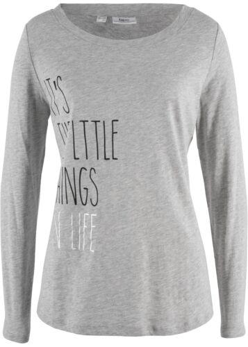 """48 50 hellgrau meliert Langarmshirt Shirt /""""little things of life/"""" Gr"""