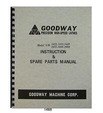 Goodway Lathe Gw1422 1433 1440 1633 1640 1660 Instruction Parts Manual 1468