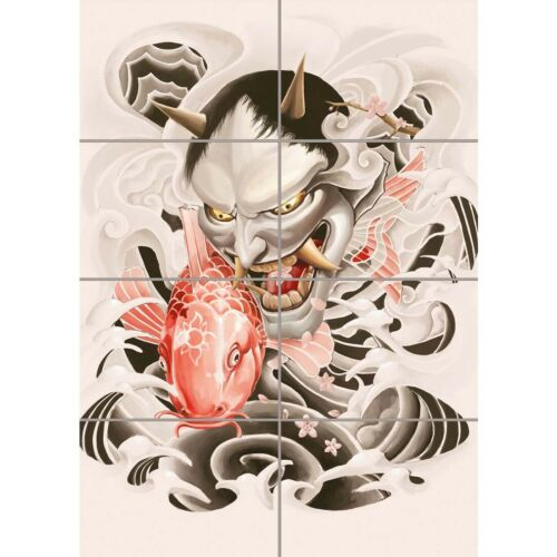 Japanese Demon Illustration Koi Home Decor Wall Art Panel Poster Print 33X47/""