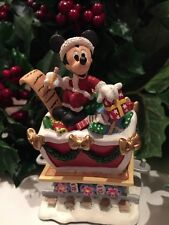 DISNEY MICKEY MOUSE With GoChristmas List On Christmas Train Village Figure RARE