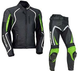 Kawasaki-Motociclo-Pelle-Giacca-Pantalone-Corsa-Motociclista-Tuta-2pcs-Protezion