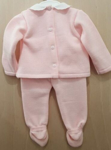 Baby Girl Spanish Style Knitted 2 Piece Set with Peter Pan Collar and Bow.