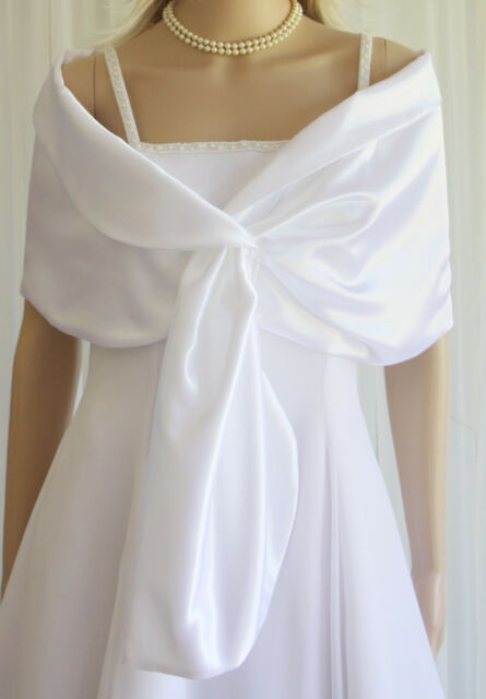 White Satin Pull-through Shawl Wrap Scarf for Bridal Prom Formal | eBay