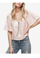 Free People Night Fever Pink Pearl Sequined Top Sz M Medium Shirt Blouse