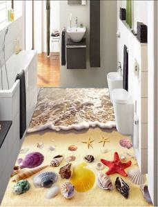 3D Summer Beach Shell 8 Floor Wall Paper Murals Wall Print AJ WALLPAPER UK Lemon