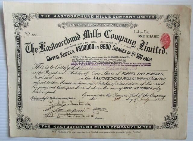India Kastoorchund Mills Company Ltd. 1921 share certificate