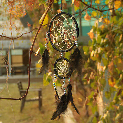 Handmade Black Dream Catcher With feathers Hanging Decoration Decor Ornament