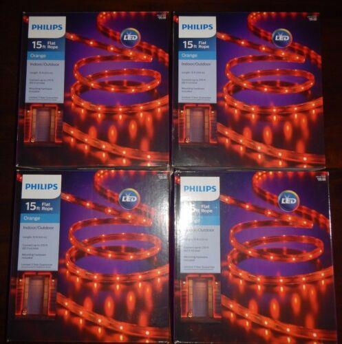 4 boxes NEW Philips Halloween LED Flat Rope Lights 15 ft Indoor Outdoor Orange