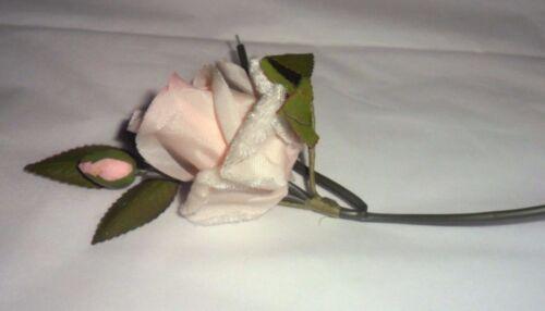 Vintage Varigated Light Pinks Fabric//Velvet Rose on Stem Made in Japan