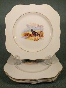 4-VTG-M-amp-R-England-Bone-China-Square-Salad-Dessert-Plates-H-Colclough-1940-Birds