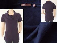 525 America Shirt Pulli Damen Kurzarm grosser Hängekragen dunkelblau S 36 Top