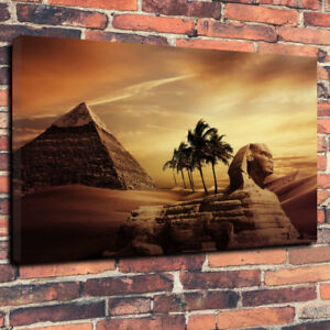 Ancient-Egypt-Pyramid-Desert-Printed-Canvas-Picture-A130-034-x20-034-Deep-30mm-Frame