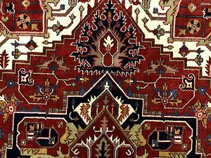10x14 WOOL RUG HAND-KNOTTED ORIENTAL rust navy blue handmade handwoven carpet