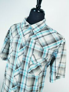 Mens-2XL-WRANGLER-Wrancher-Western-Pearl-Snap-Cotton-SHORT-SLEEVE-Shirt-Plaid