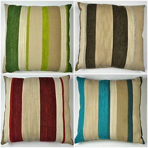 Aspen-FILLED-Cushion-pad-Wide-Striped-Chenille-Geometric-Multicolour-Pillow-New