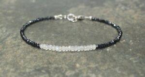Natural-Spinel-amp-Moonstone-Faceted-Gemstone-Beaded-Bracelet-925-Silver-Clasp-14