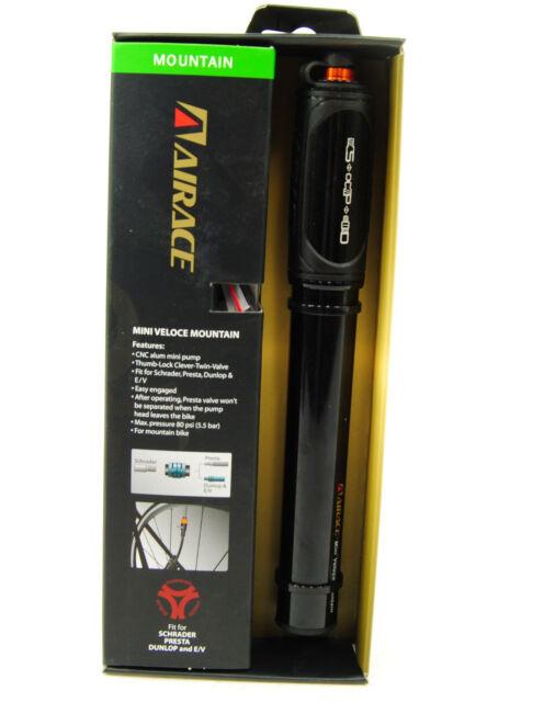 Airace Light Silver Mini Bike Pump Dunlop Valves Presta Schrader NEW AI-AP-84A