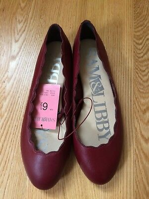 Sam & Libby Womens Ballet flats scallop leather red / Capri size 6.5 NWT