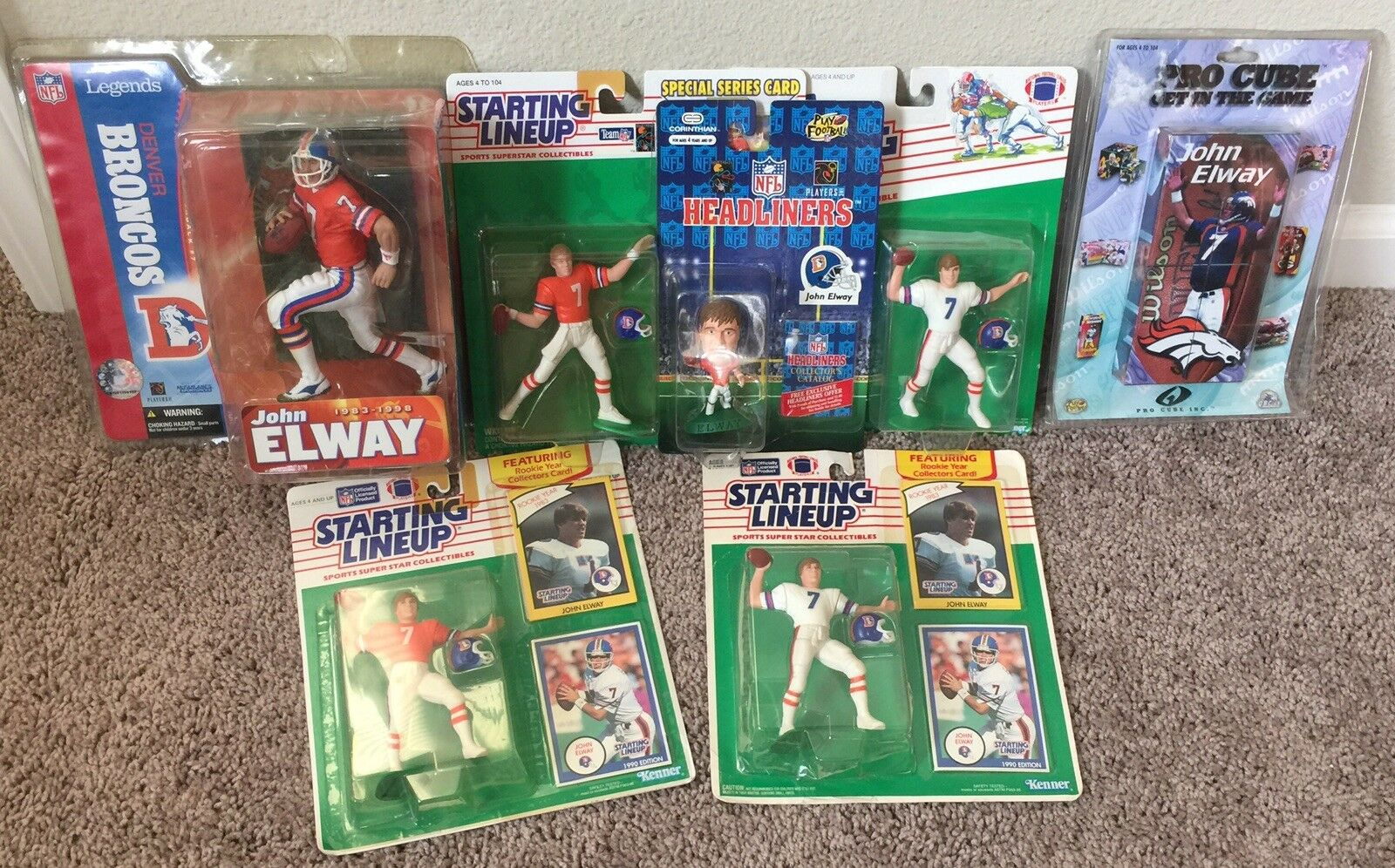 John Elway Figure Collectible Lot Starting Lineup, Legends & Pro Cube Broncos