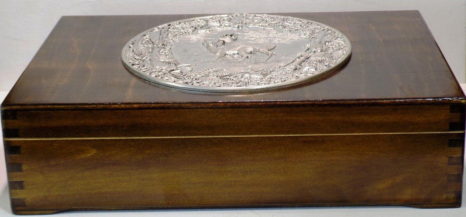 Tea Wooden Box with metal plaque deer hunting boar