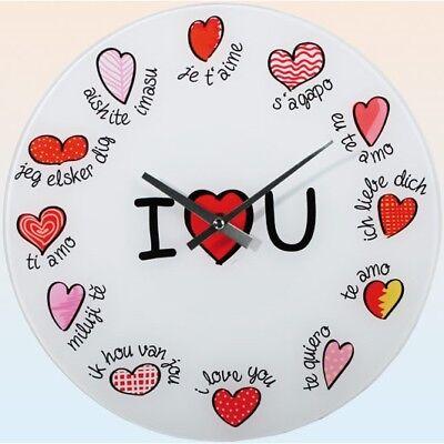 """Capace Vetro-orologio Da Parete Wall Clock Ø Ca. 30 Cm Orologio Con Gradevole Immagine: """"i Love You""""-mostra Il Titolo Originale"""