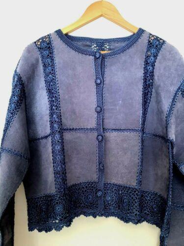 Suede Leather & Crochet Women's Cardigan Jacket -