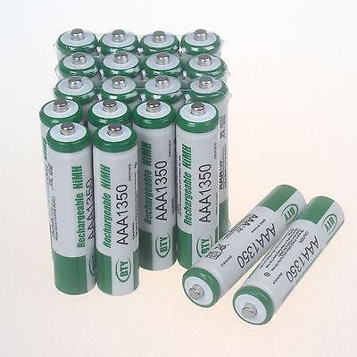 20Pcs AAA 1350mAh Rechargeable 1.2V NiMh BTY R3 R03 LR3 LR03 3A Batterie Set