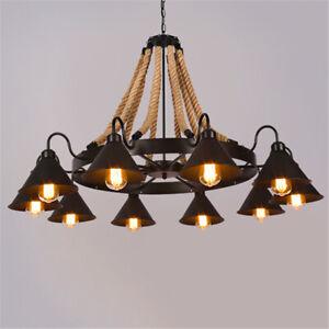 Details About Rope Chandelier Pendant Light Vintage Lighting Lamp Ceiling Fixture
